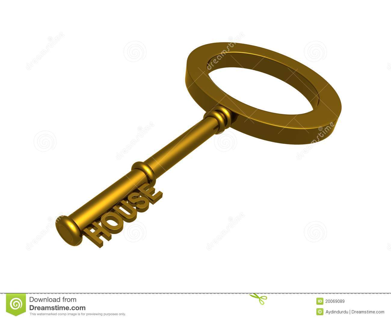 gold house key. Gold Key To A House Royalty Free