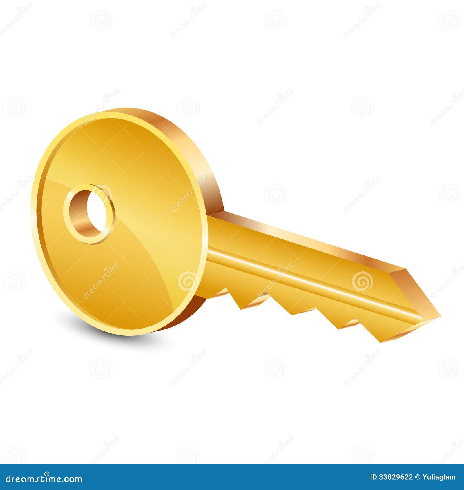 Vector Key Illustration: Gold Key Stock Photography
