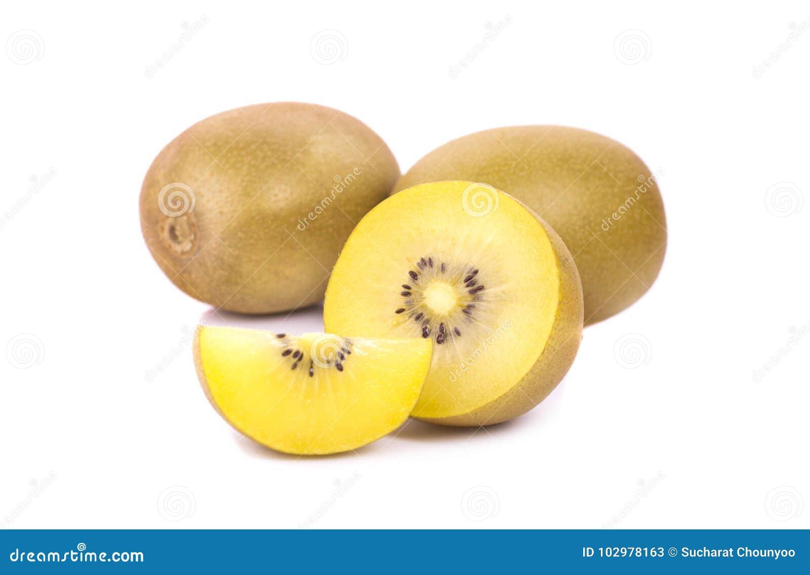 Gold kiwis fruit on a white background
