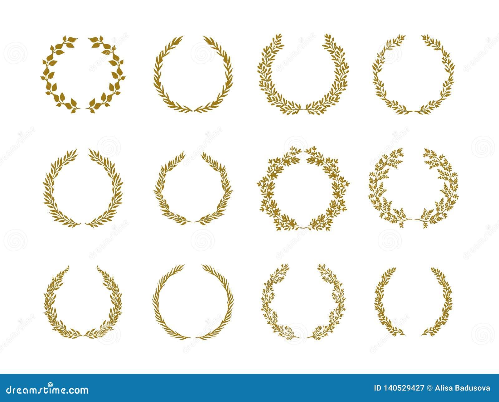 Gold laurel foliage wreath vector illustration set on white background