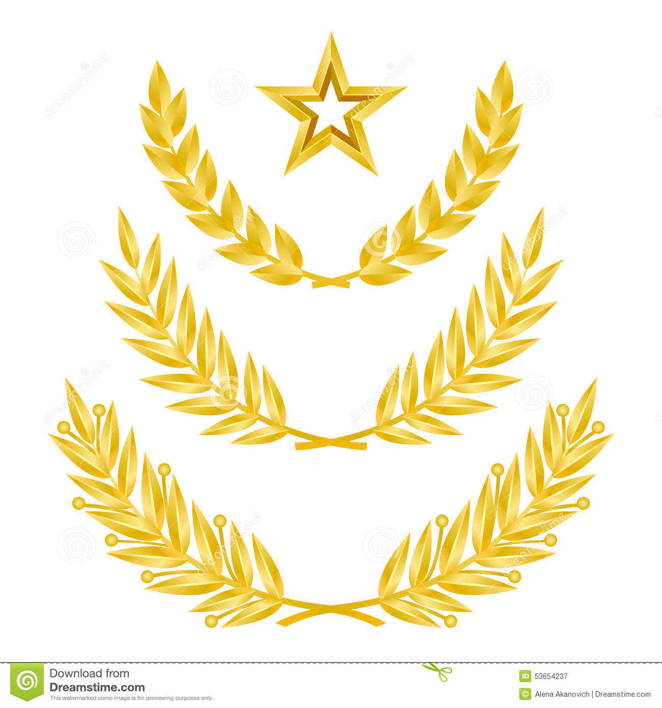 Set of golden laurel wreaths and gold star. Vector 3d illustration.