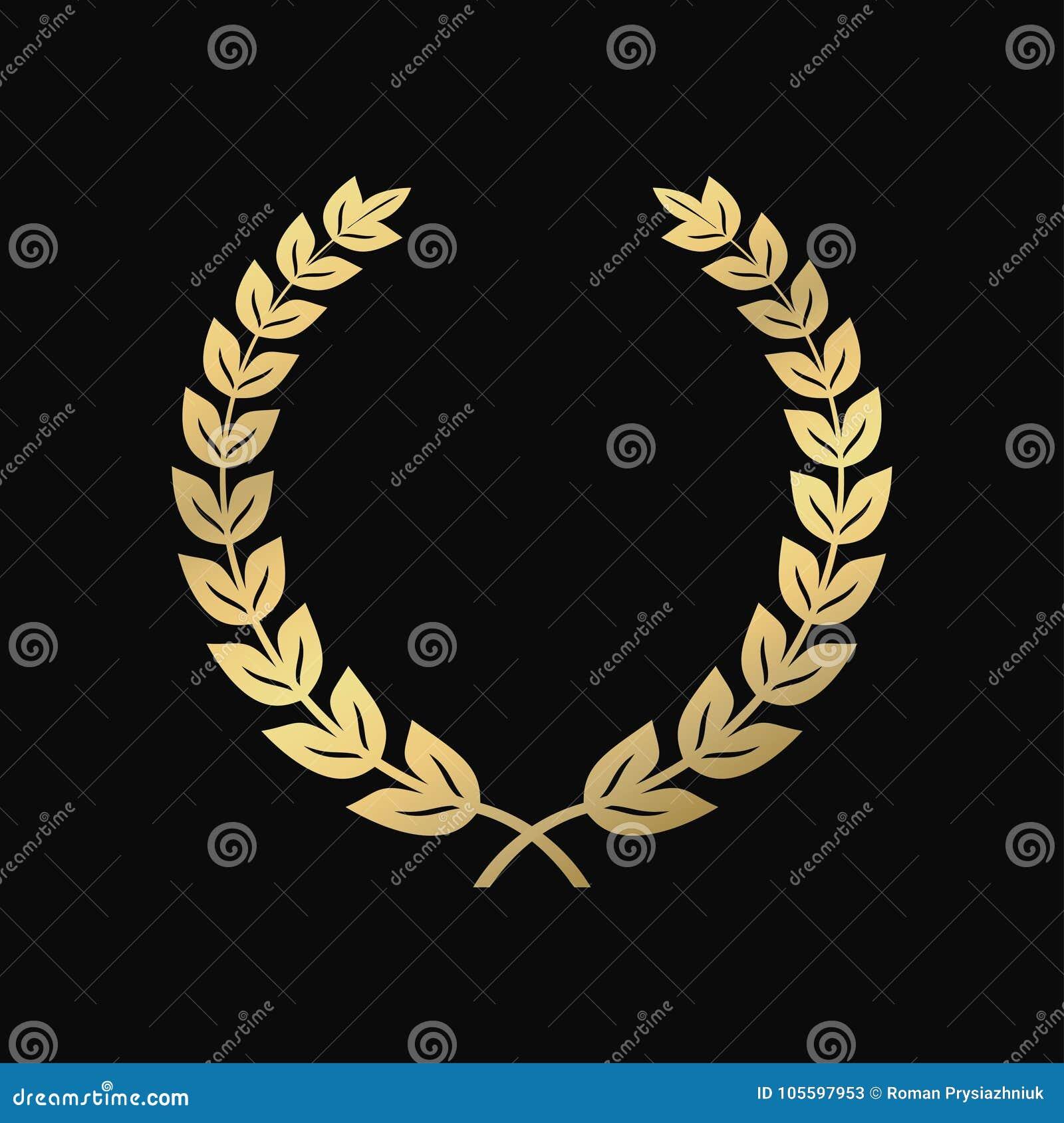 Gold Laurel Wreath A Symbol Of Victory Triumph Vintage Sign Stock