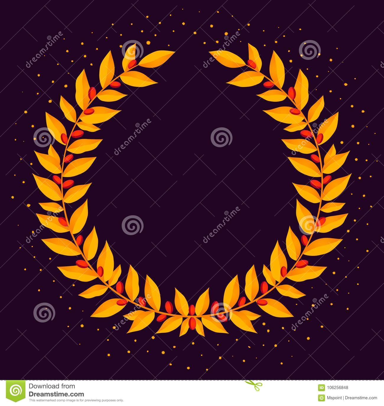 Gold Laurel Wreath Vintage Wreaths Heraldic Design Elements With