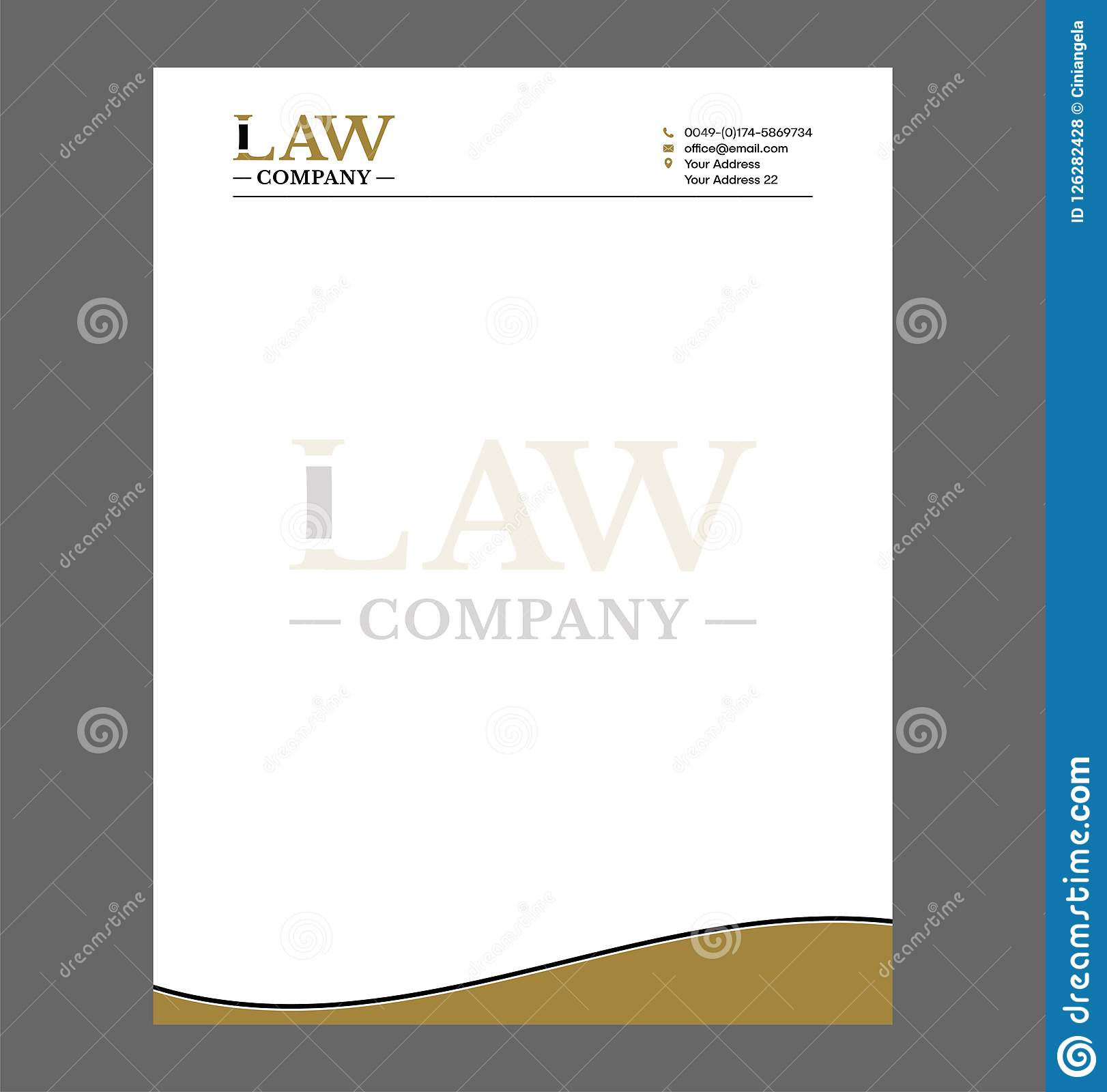 Legal Letterhead Template | Law Or Attorney Letterhead Template For Print With Logo Stock Vector