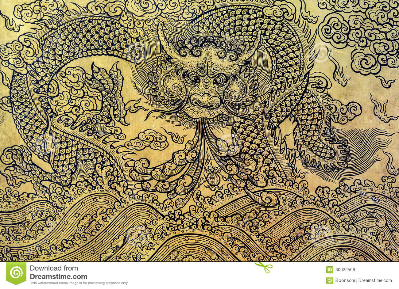 gold leaf art of chinese dragon stock photo image of thailand