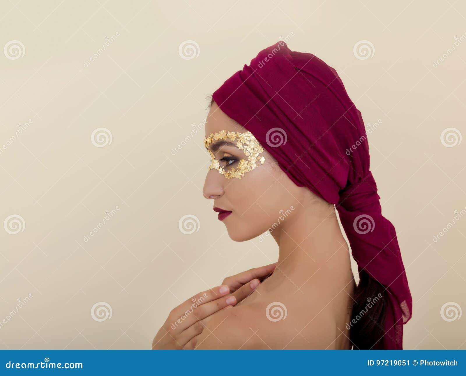 Gold Leaf Eye Make Up Stock Image Image Of Foil Makeup 97219051