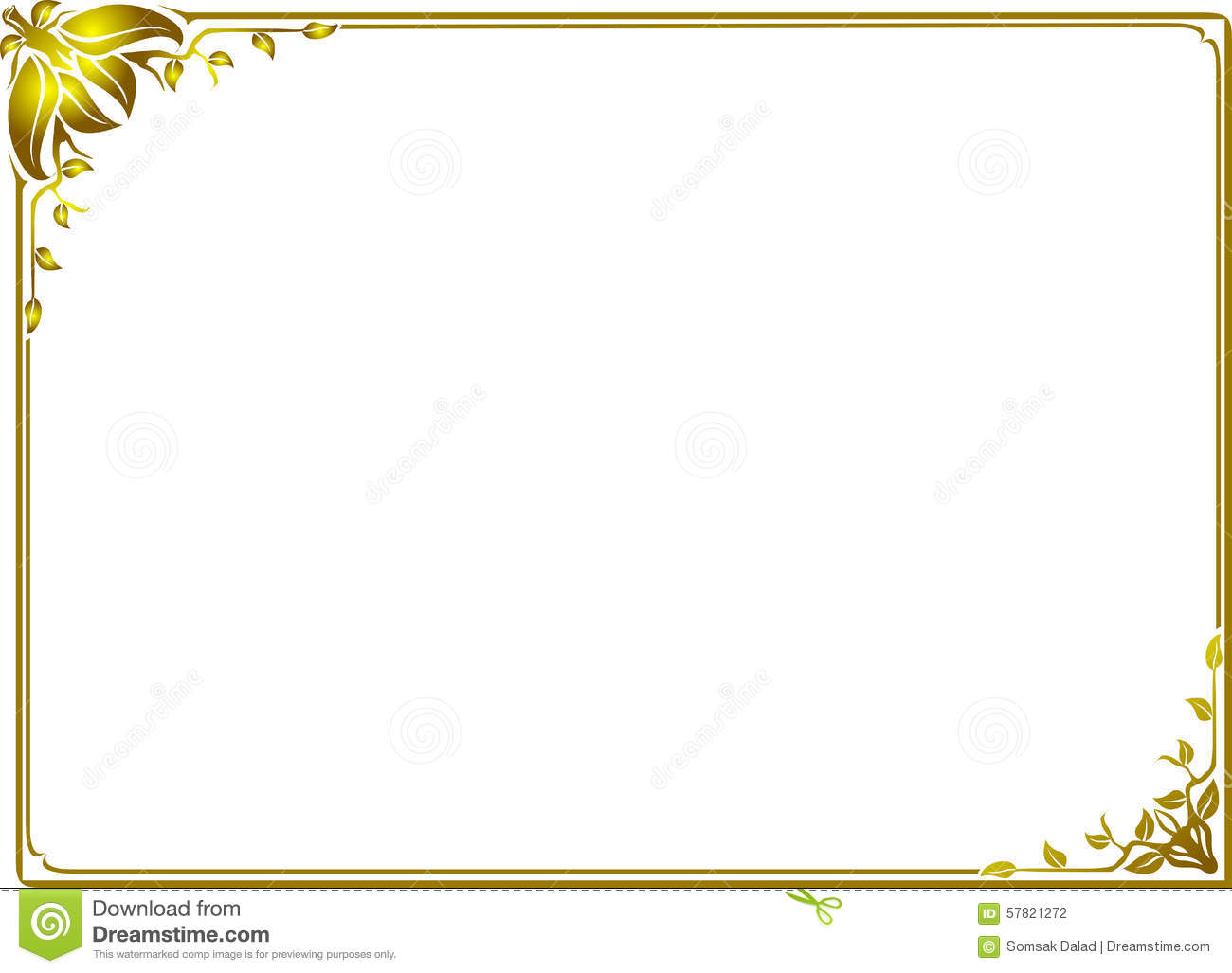 Gold leaf frame floral stock vector. Illustration of ornate - 57821272
