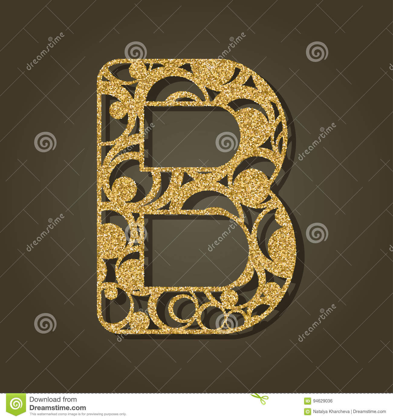 Gold letter B for laser cutting. English alphabet.