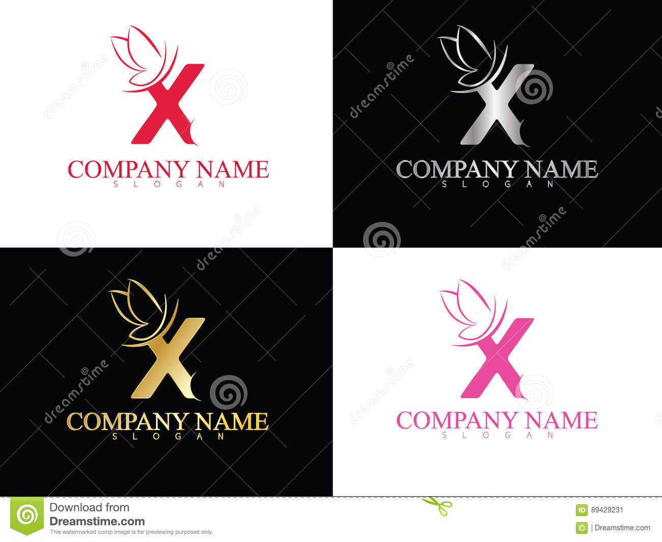 Gold Letter X With Beautiful Wing Logo Template Stock