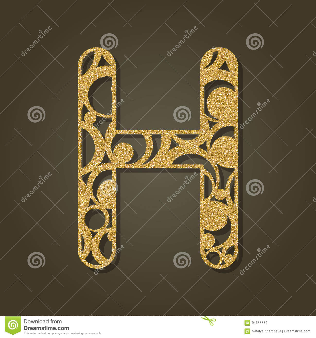 595795537b Gold Letter H For Laser Cutting. English Alphabet. Stock Vector ...