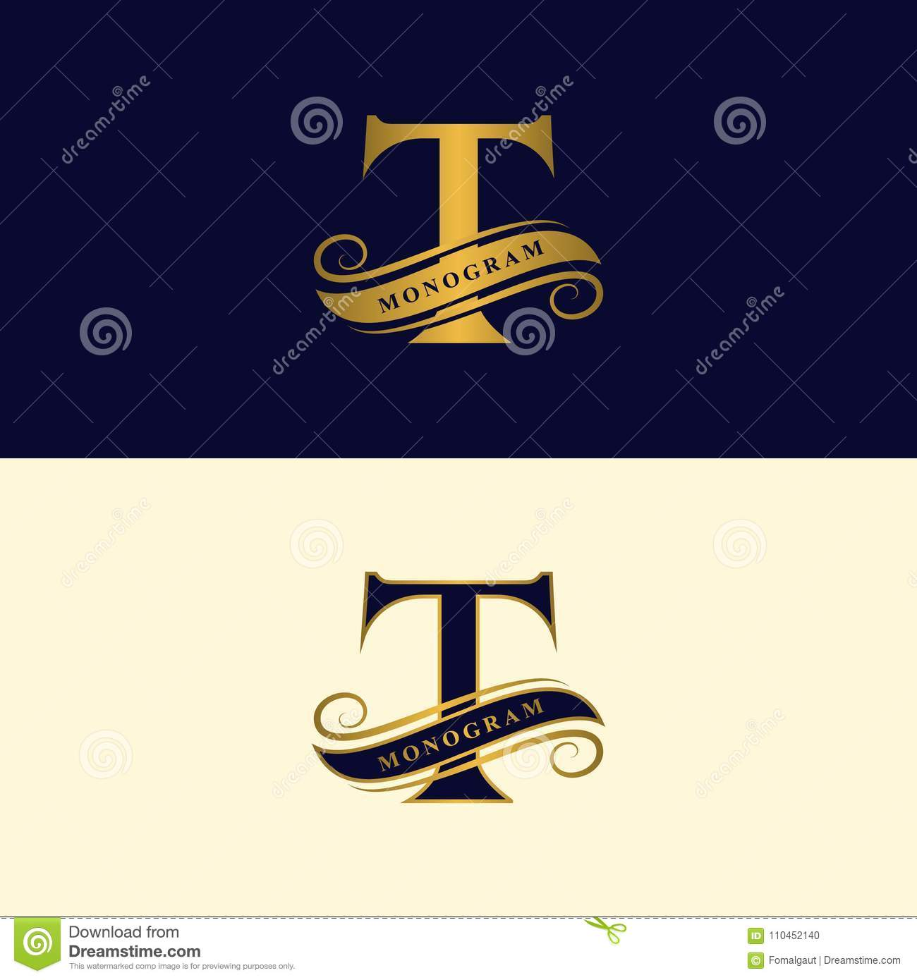 gold letter t calligraphic beautiful logo with tape for