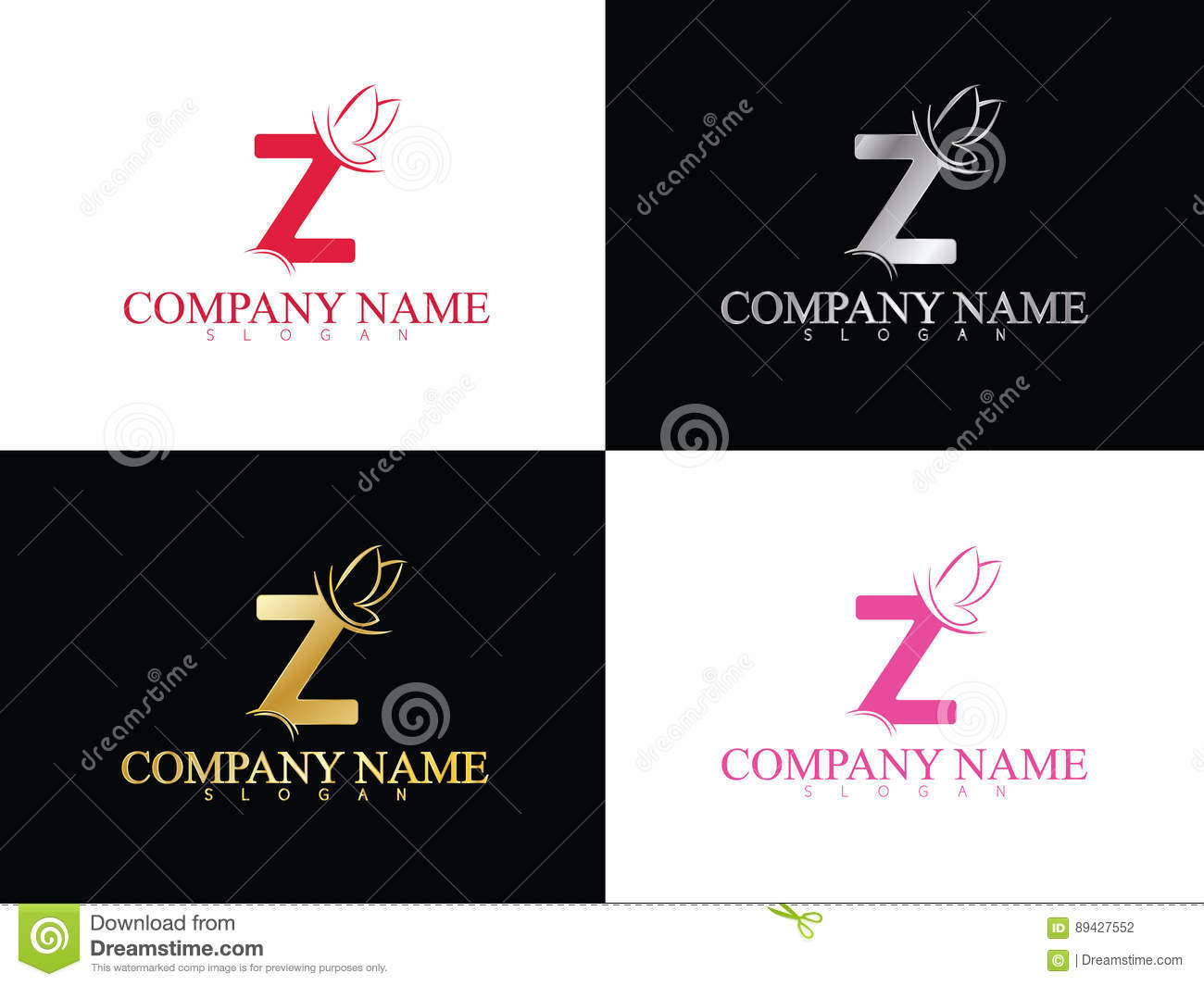 gold letter z with beautiful wing logo template stock vector