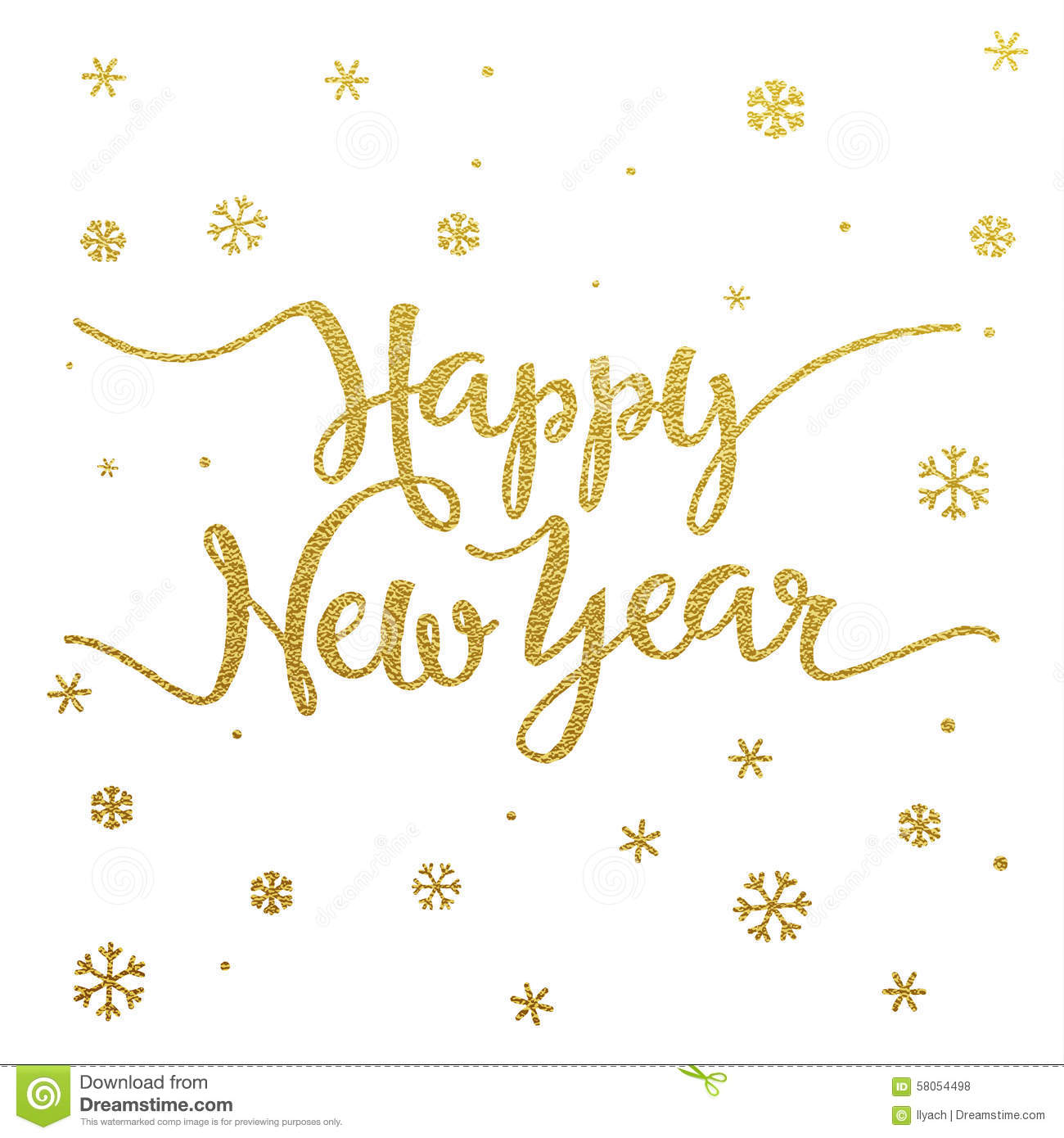 Gold Lettering Design For Card Happy New Year Stock Vector
