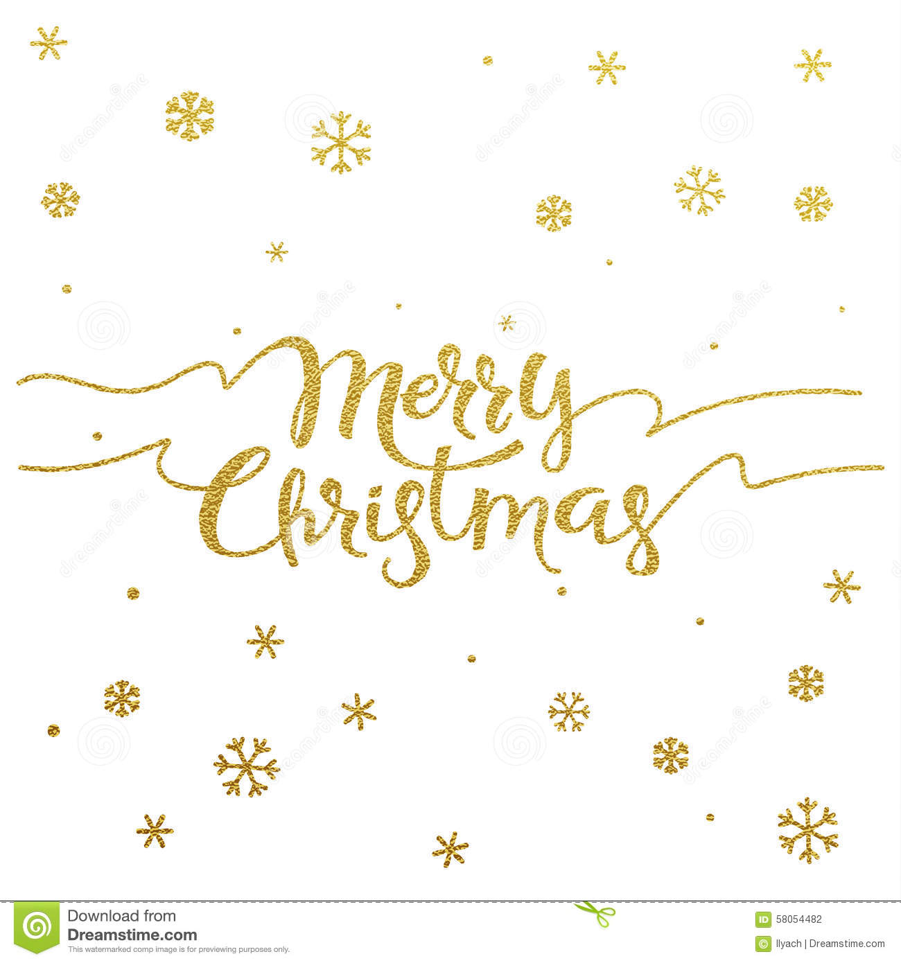 Gold Lettering Design For Card Merry Christmas Stock