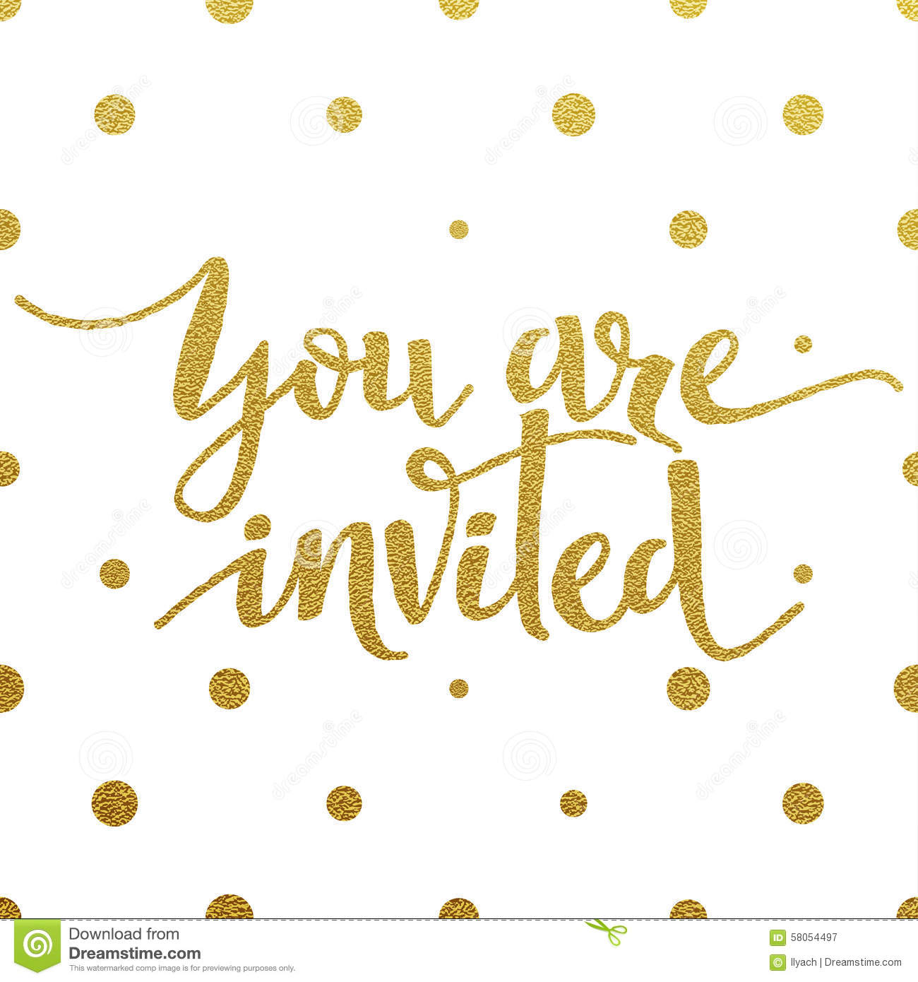 Gold Lettering Design For Card You Are Invited Stock
