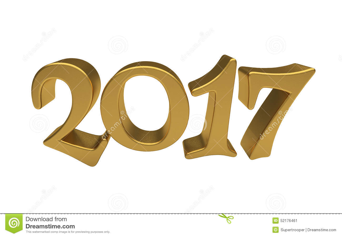 Gold 2017 Lettering Isolated Stock Illustration - Image: 52176461