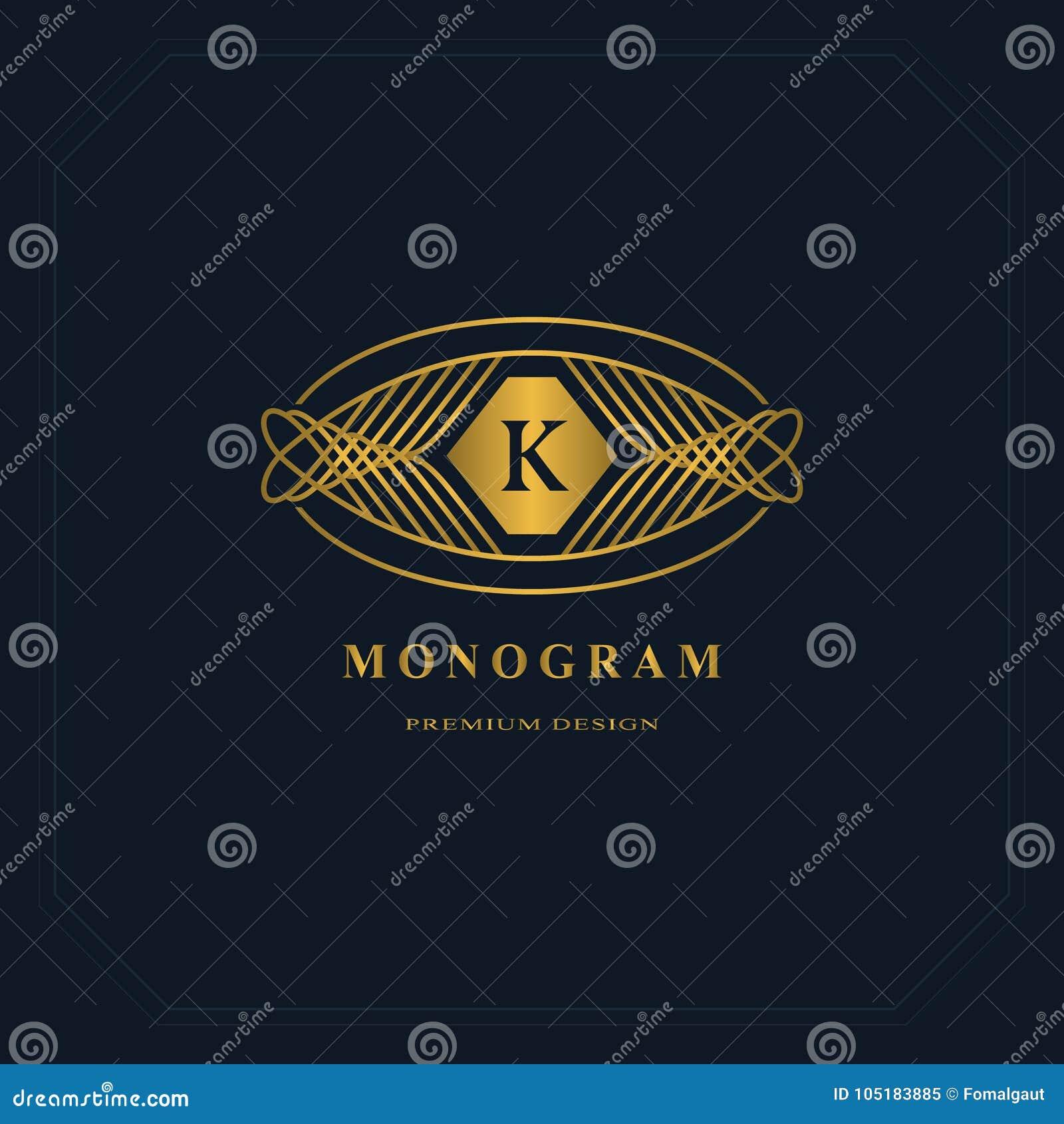 gold line graphics monogram elegant art logo design letter k