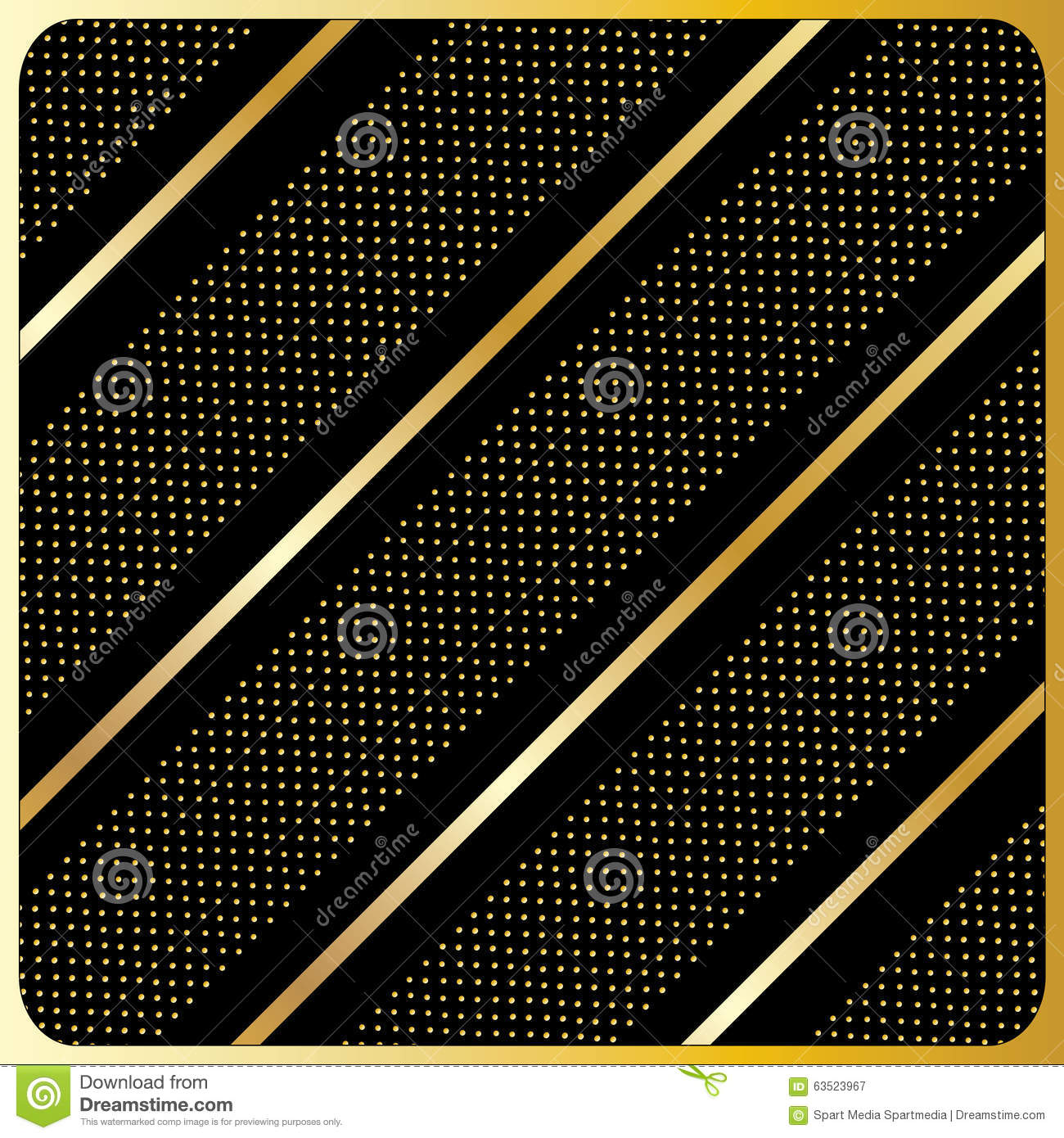 gold lines polka dots black background stock vector