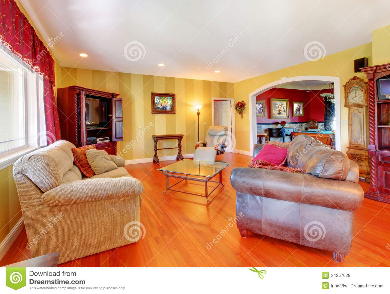 Gold Living Room With Cherry Hardwood And Red. Royalty ...