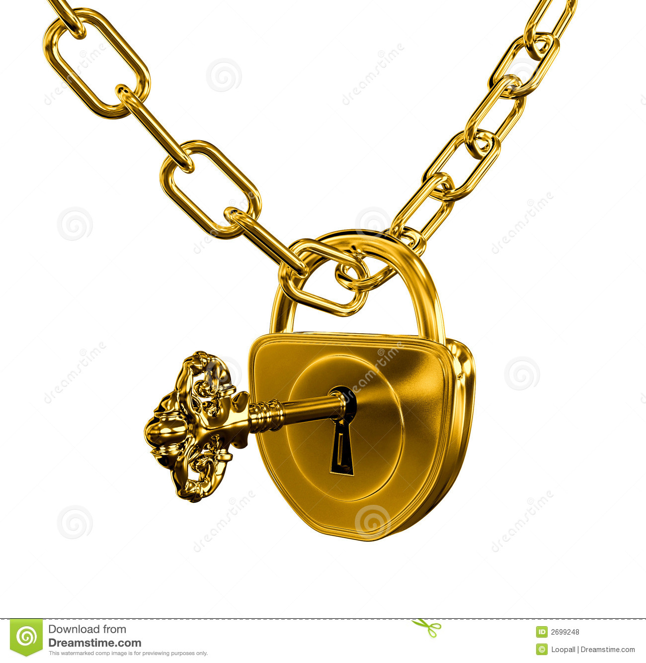 Gold lock with key and chain royalty free stock photos image 2699248 - How to open chain lock ...