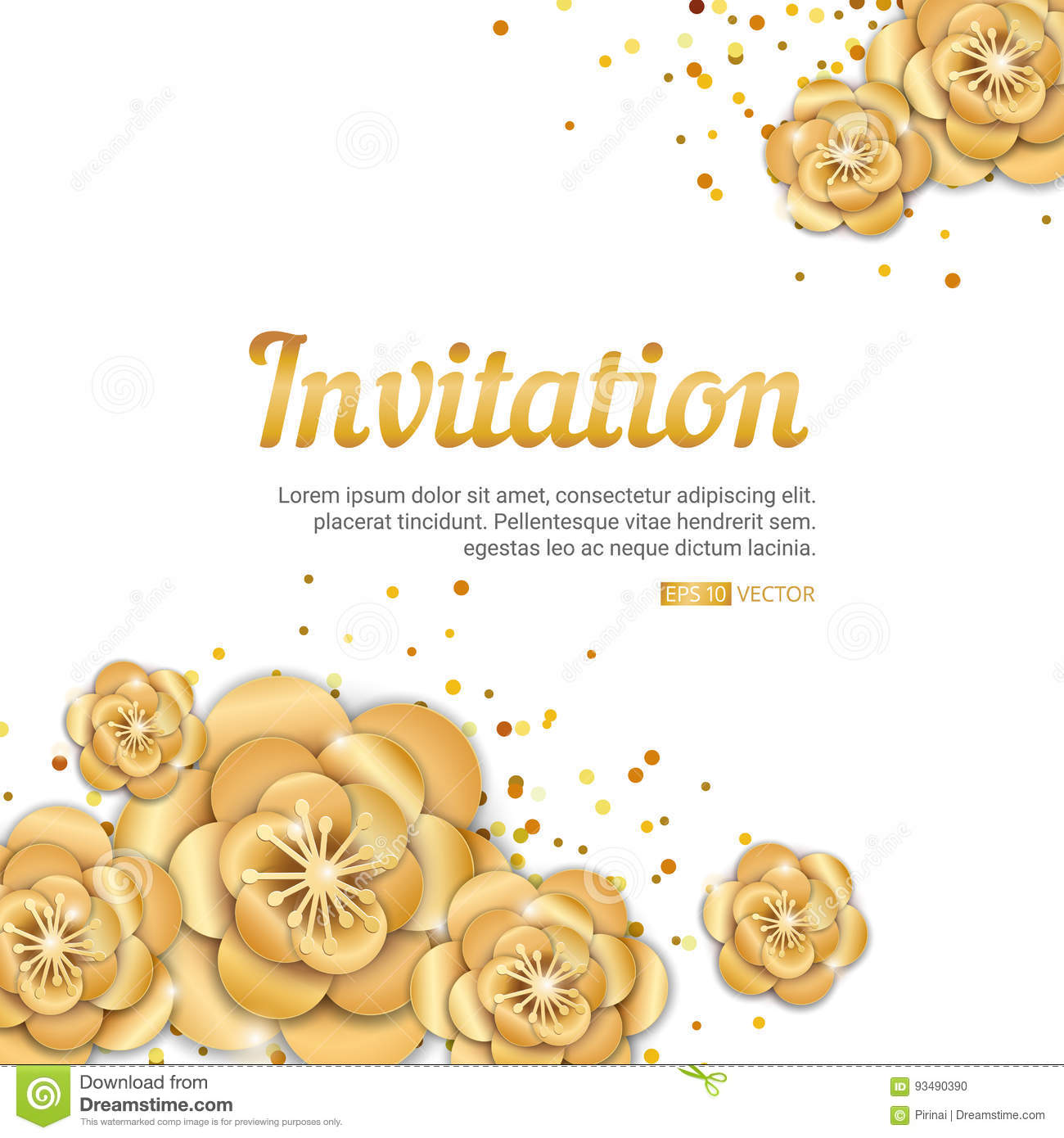 Gold lotus flower invitation stock vector illustration of card download gold lotus flower invitation stock vector illustration of card golden 93490390 mightylinksfo