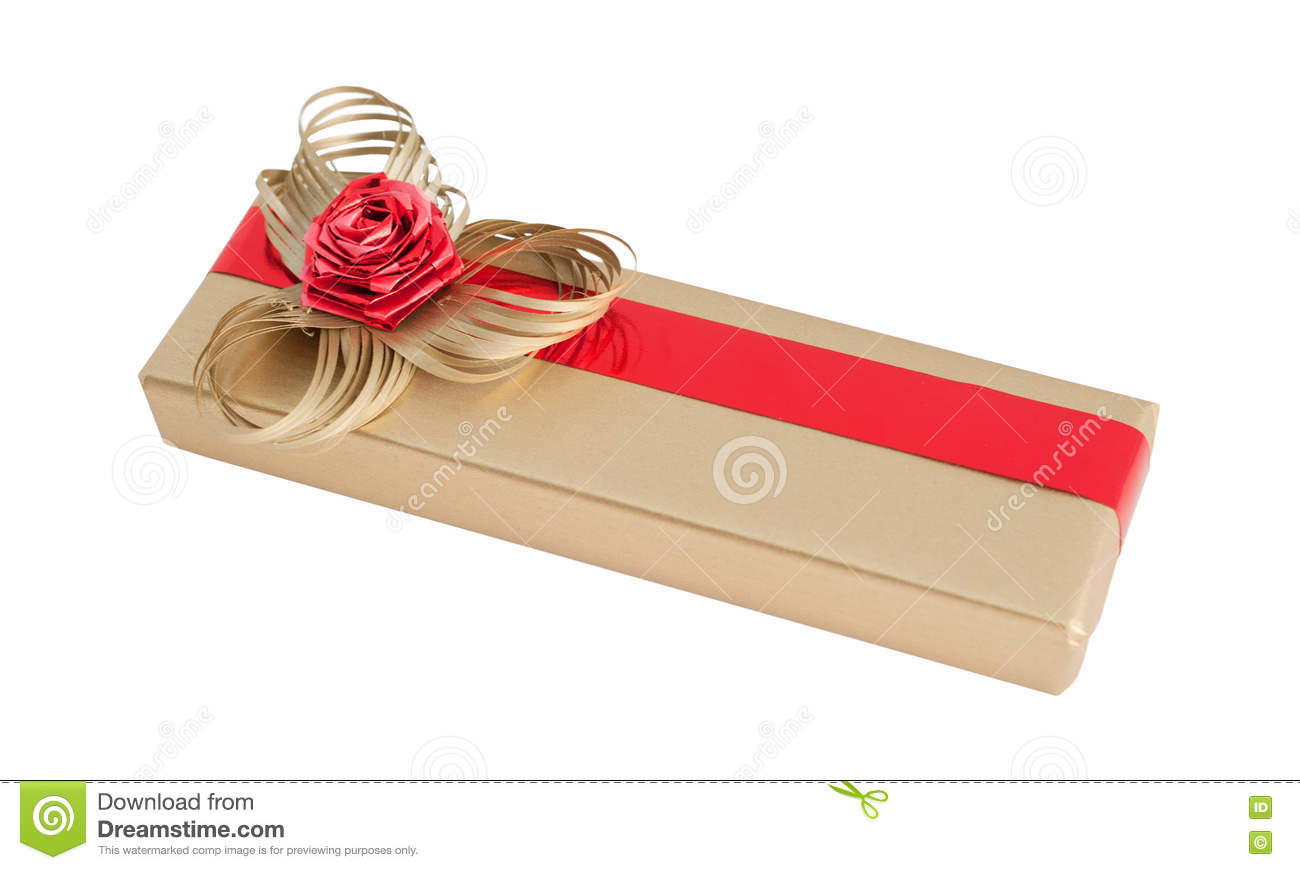 Gold Luxury Paper Wrap Gift Box Simple Ribbon Bow Flower Isolated