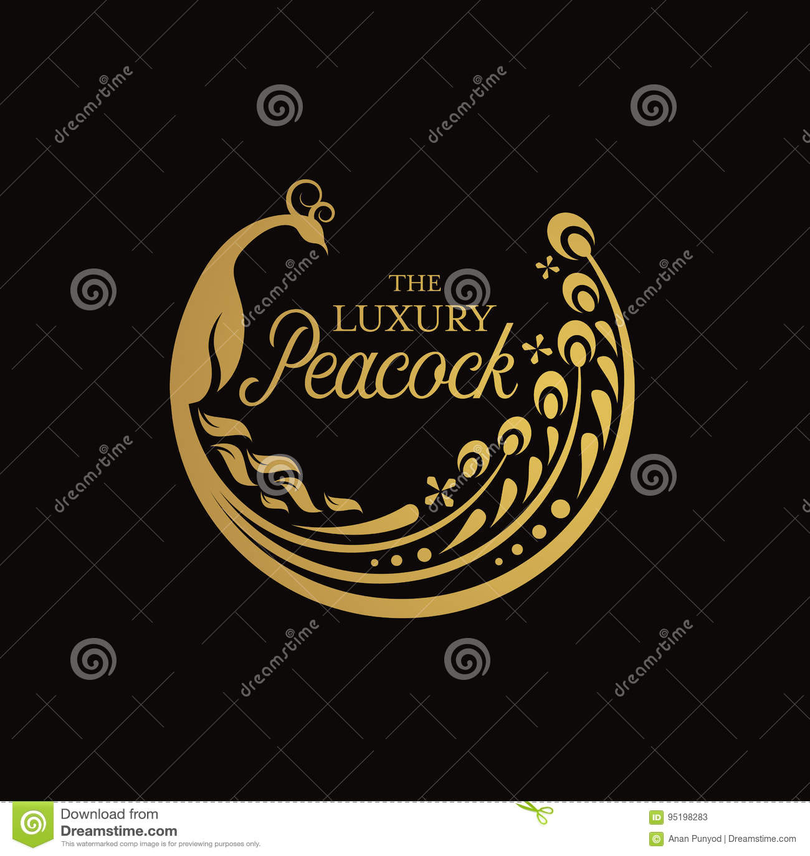 Gold Luxury Peacock Circle Sign Logo Vector Art Design