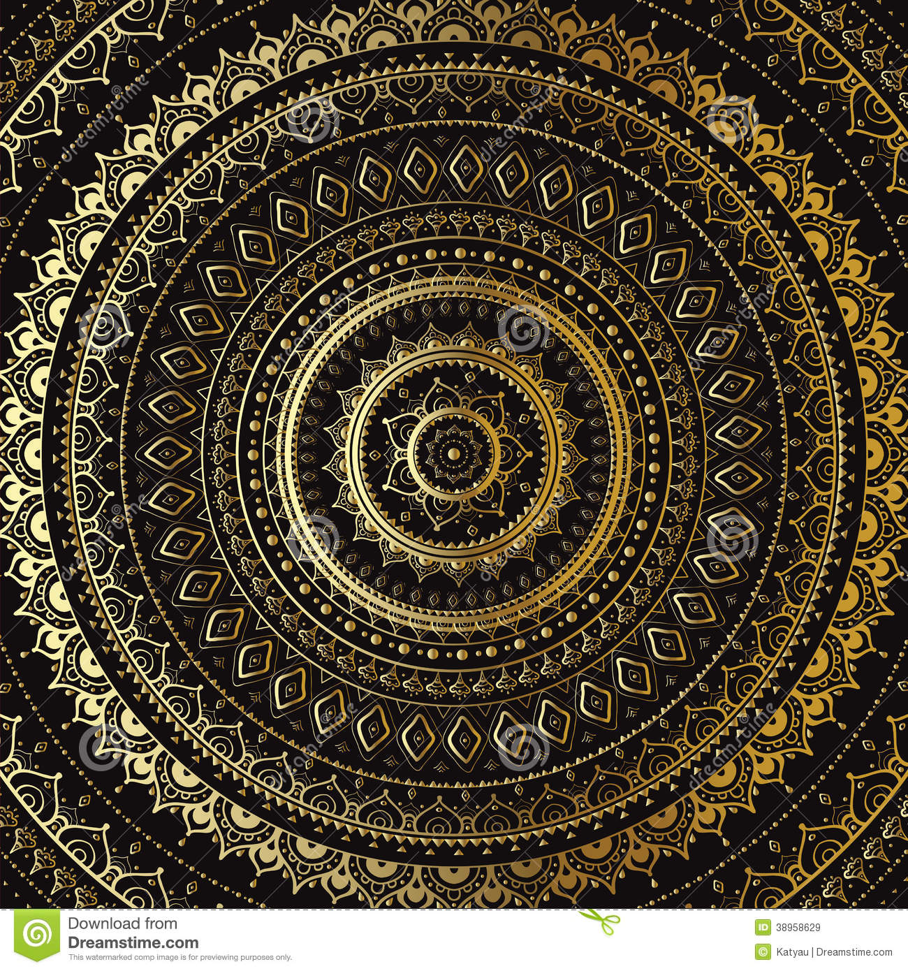 Gold Mandala. Indian Decorative Pattern. Stock ...