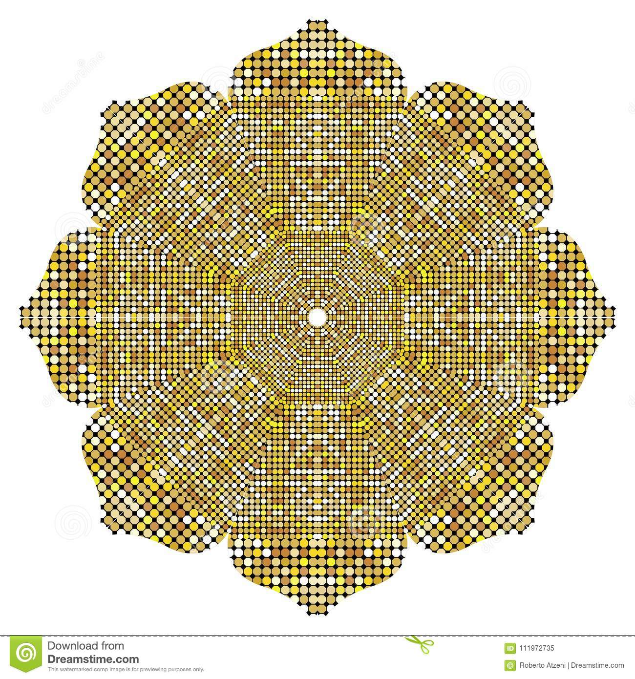 Gold Mandala texture with golden mosaics in the Byzantine style/Antique mosaic/Mosaic tiles in antique style. Cobblestone texture