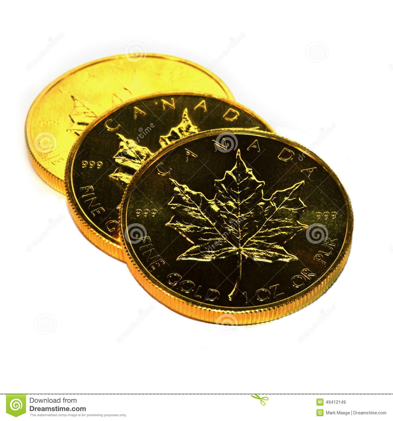 Precious Metals Money Gold Maple Leaf One Ounce Coins - Investment Finance Illustration Isolated