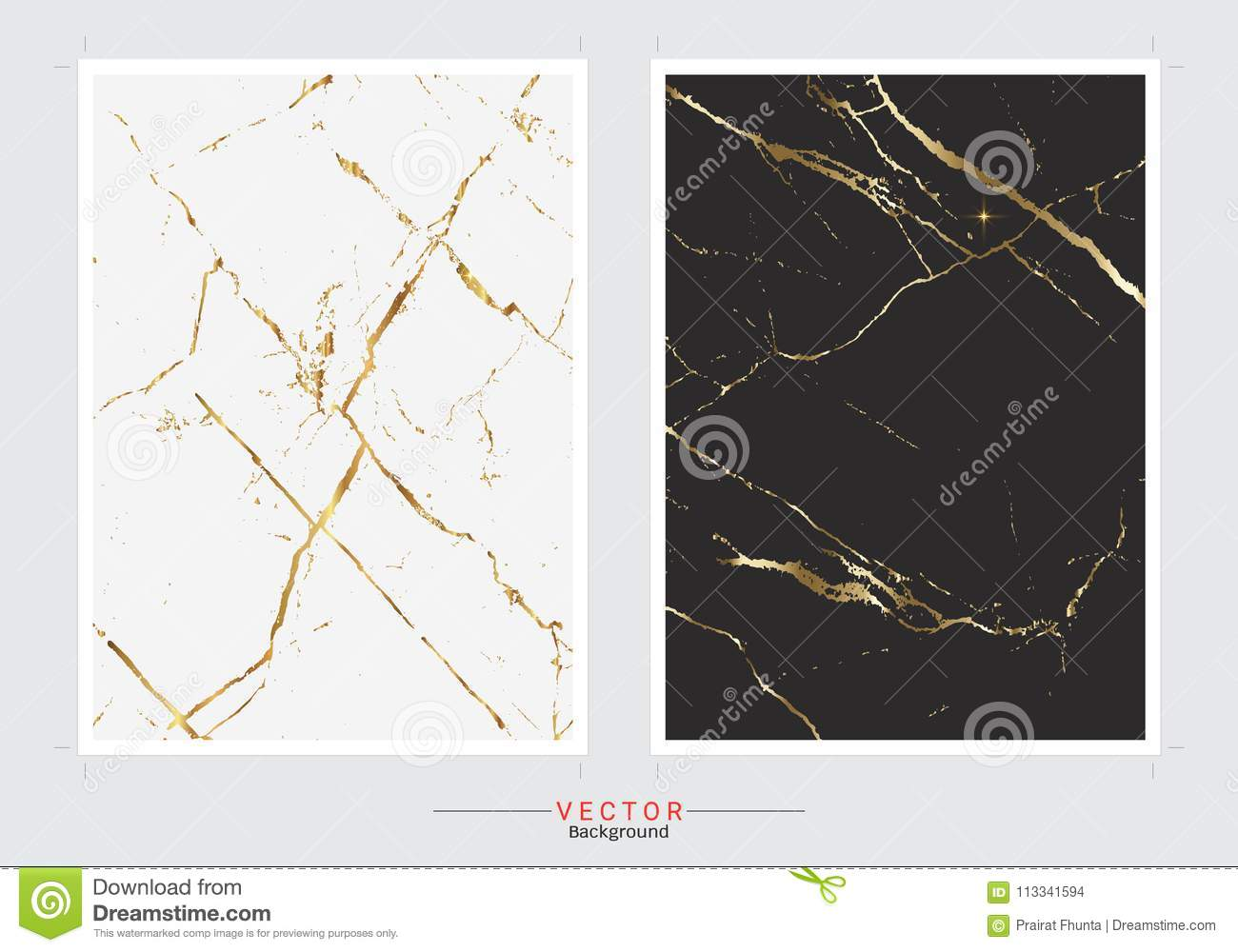 Gold marble cover background, Vector set template