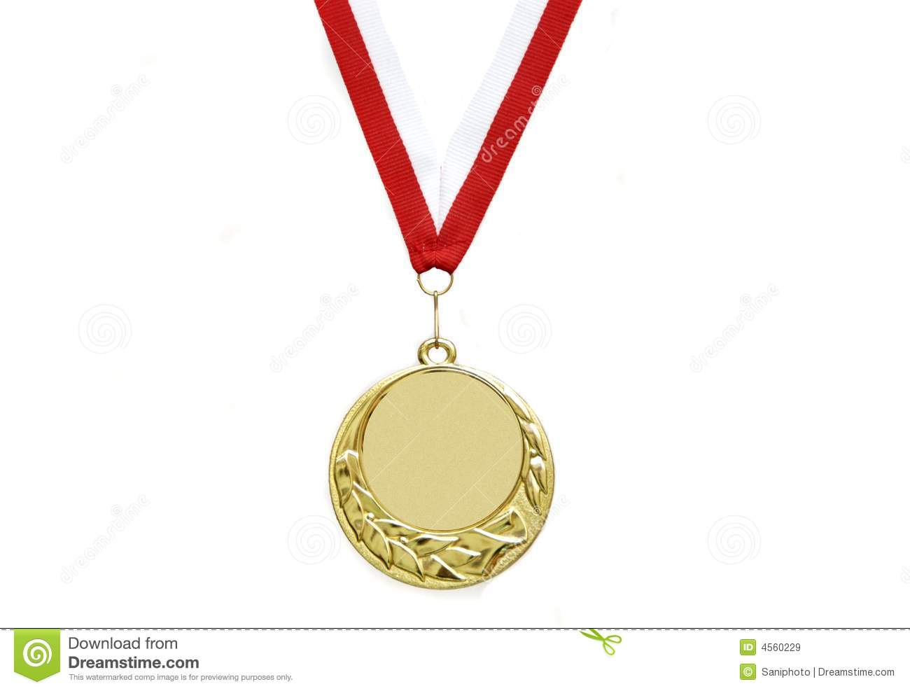 Gold medal with ribbon isolated over white background.