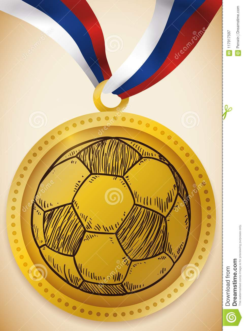 Gold Medal With Soccer Ball And Russian Ribbon Football