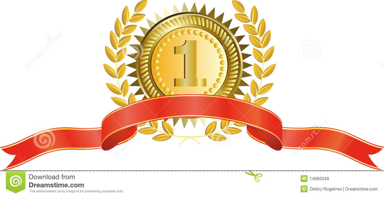 Gold Medal And Laurel Wreath Stock Vector