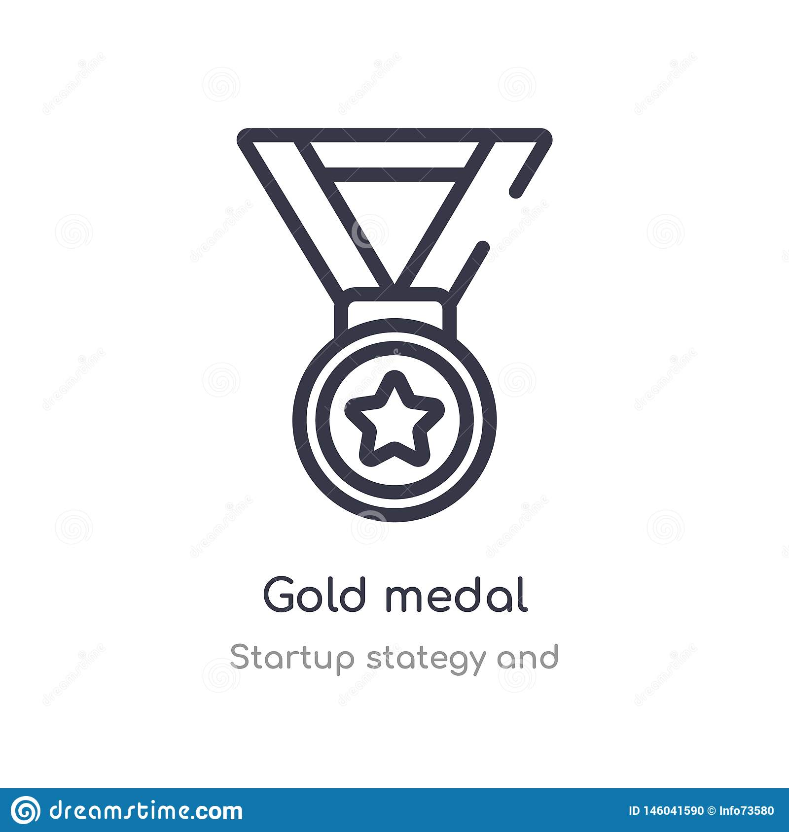 gold medal outline icon. isolated line vector illustration from startup stategy and collection. editable thin stroke gold medal
