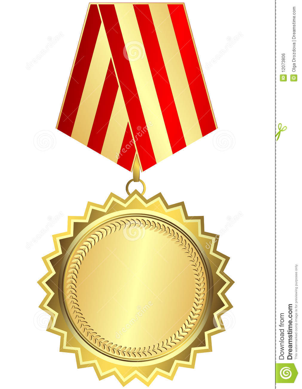 gold medal with red and golden striped ribbon stock vector