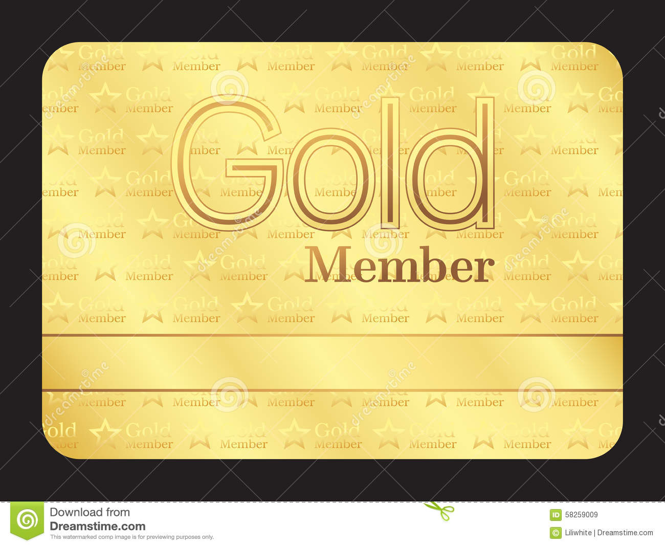 Gold Member Club Card With Small Stars Pattern  Club Membership Card Template