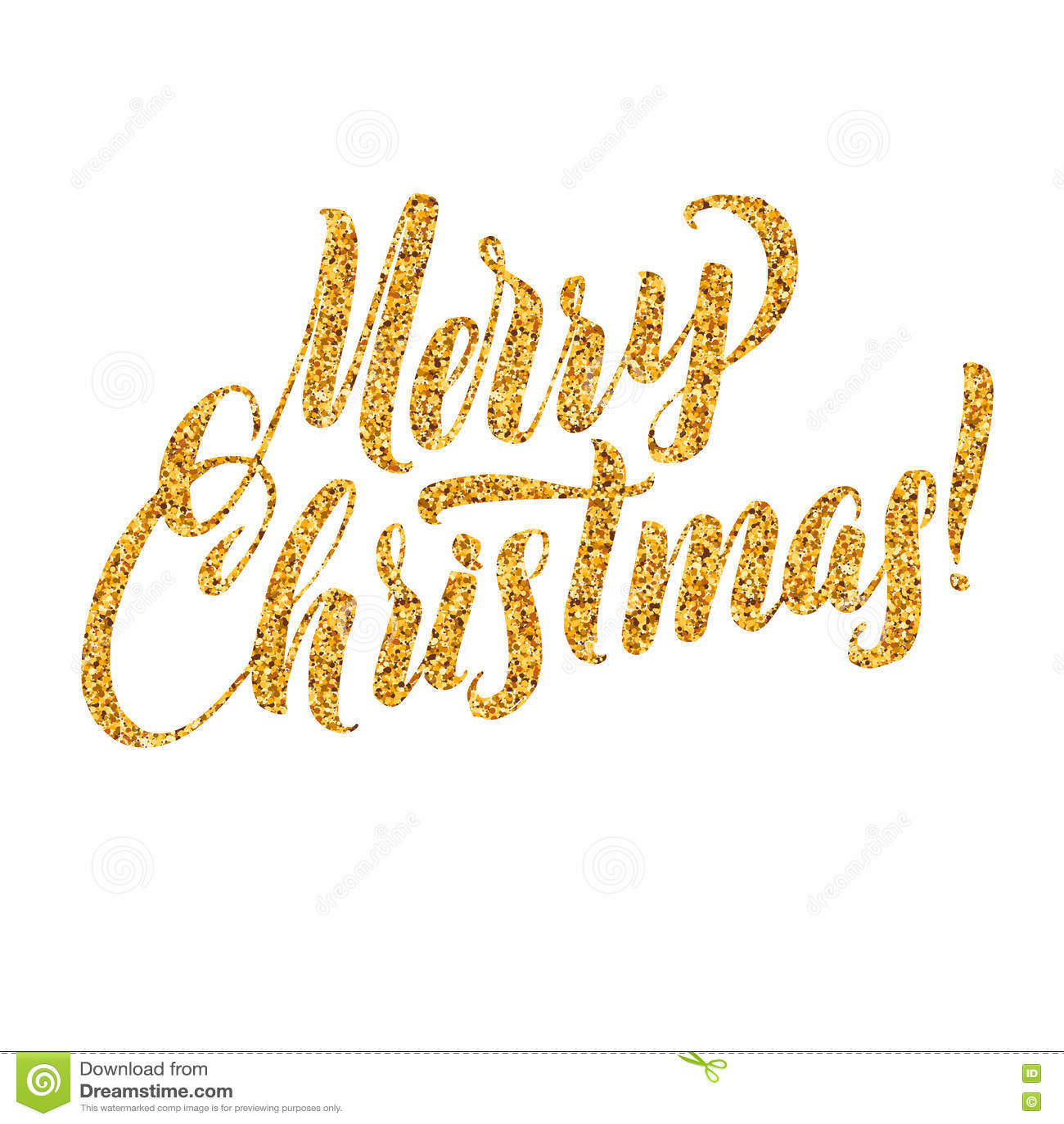 Gold Merry Christmas Card. Golden Shiny Glitter