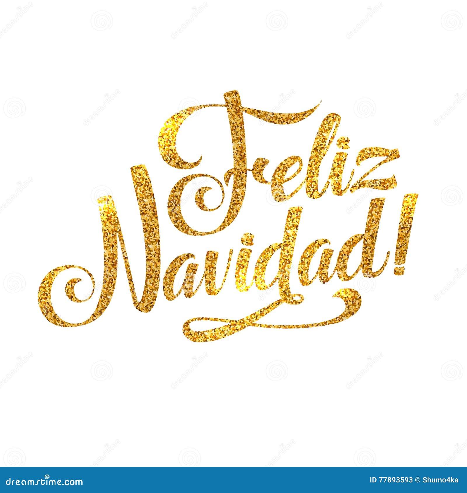 Gold Merry Christmas Spanish Card. Golden Shiny Glitter. Calligraphy ...