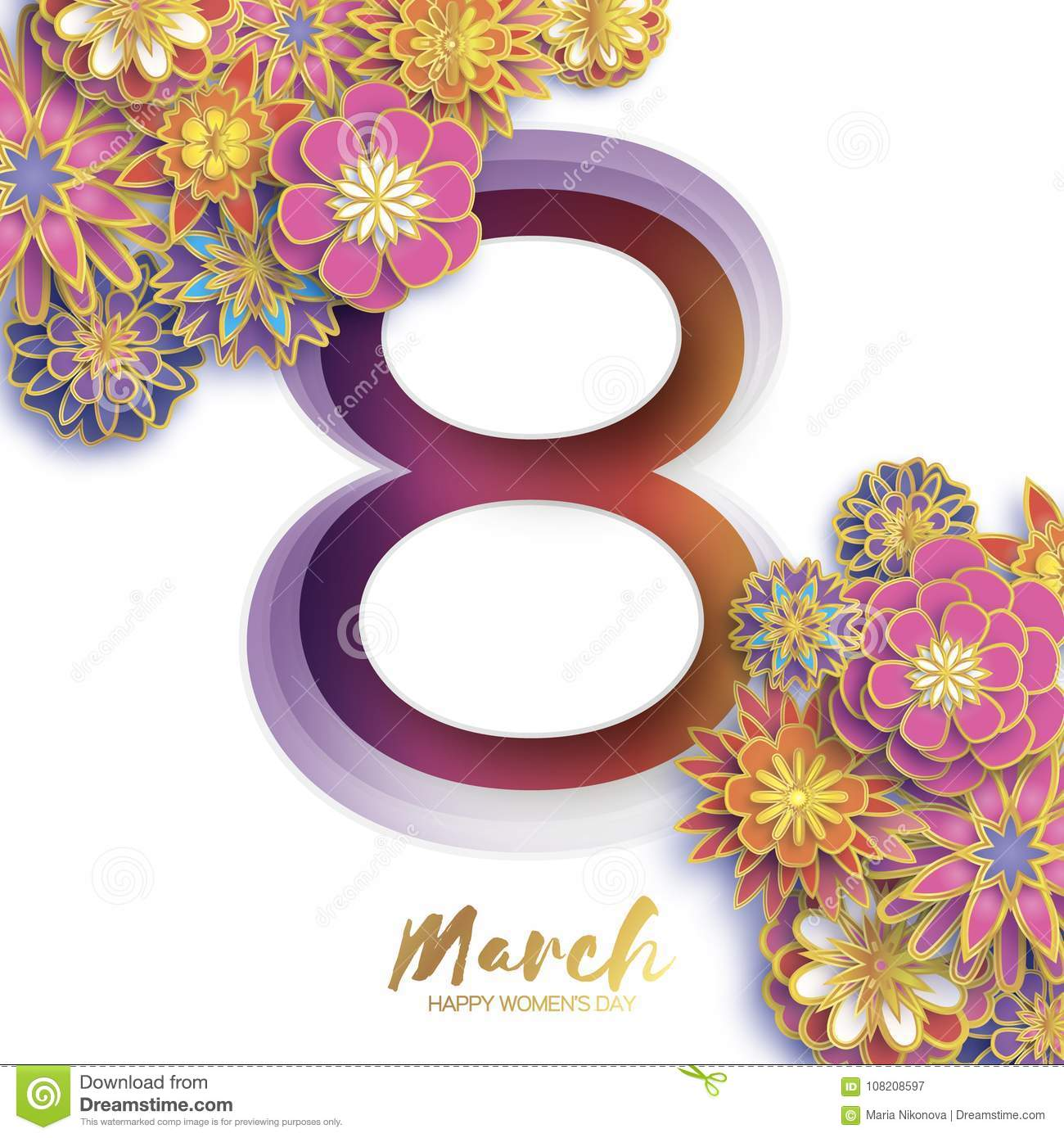 Gold Metal Happy Women s Day. 8 March. Trendy Mother s Day. Paper cut Floral Greeting card. Origami flowers. Spring