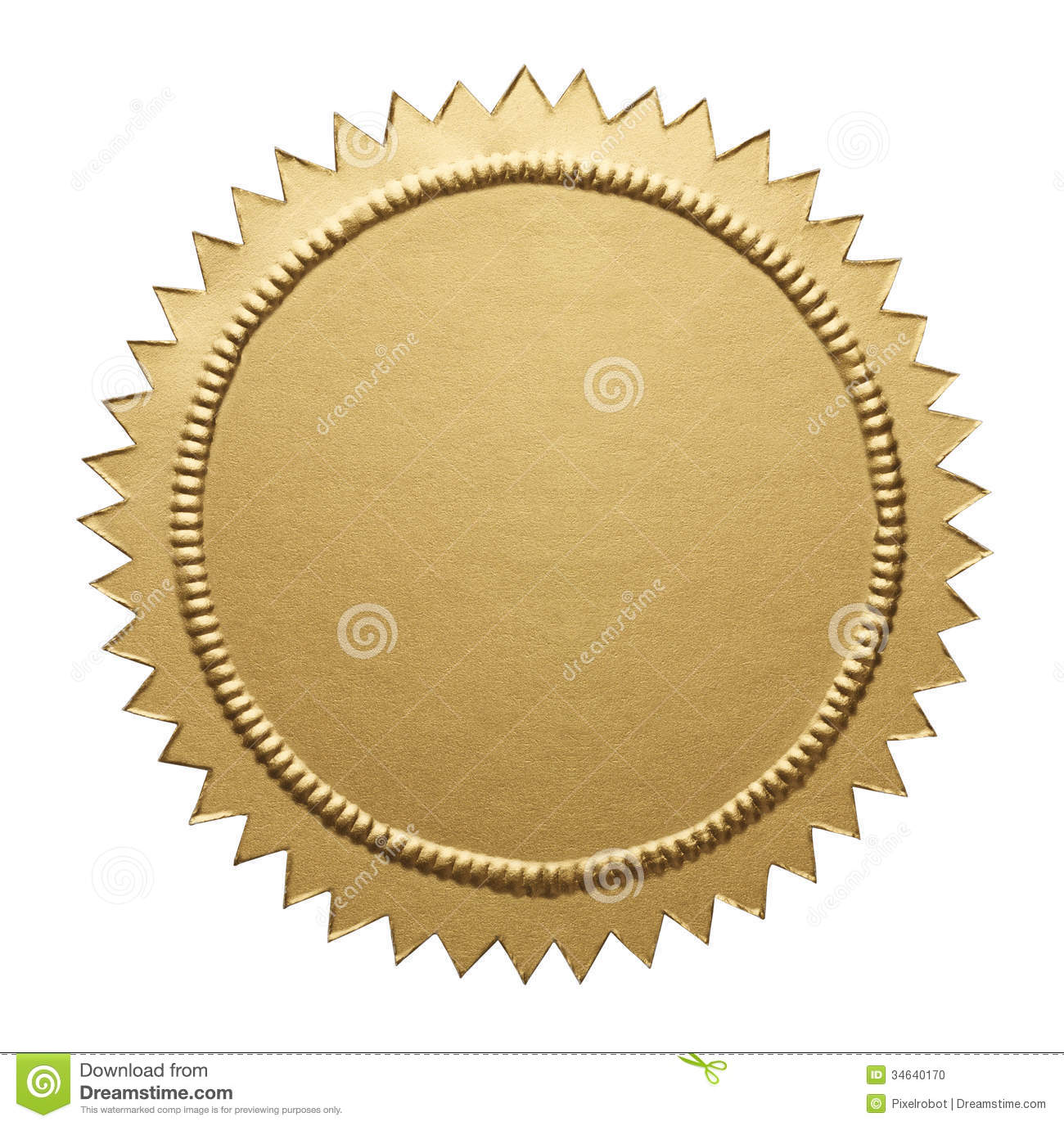 Gold Metallic Seal Stock Photo - Image: 34640170