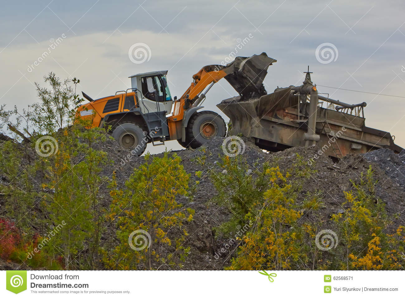 Gold mining in Susuman. An auto-loader and de-rocker