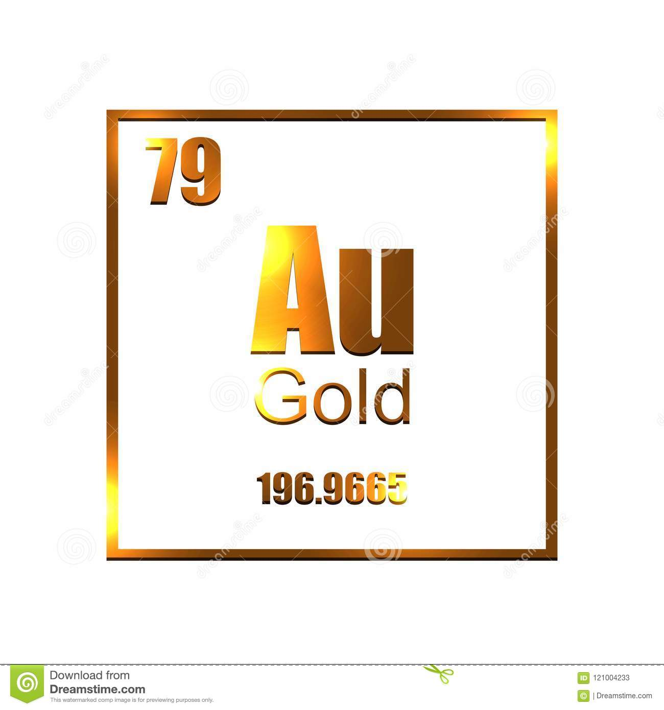Gold Molecule Standart Symbol On White Background Stock Vector