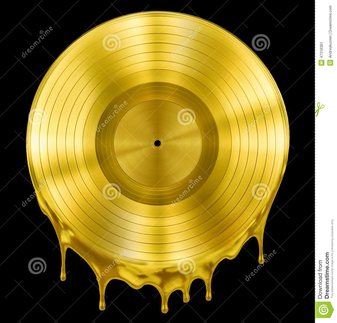 Gold Molten Or Melted Record Music Disc Award Stock Photo