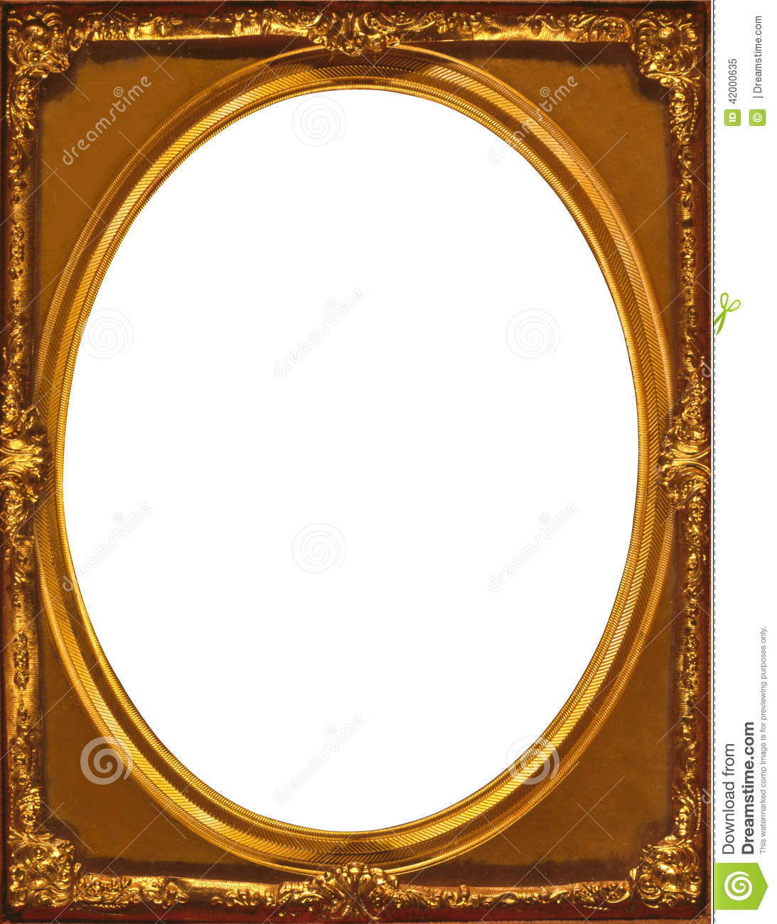 Gold Multilayered Frame Inner Oval Within A Rectangular
