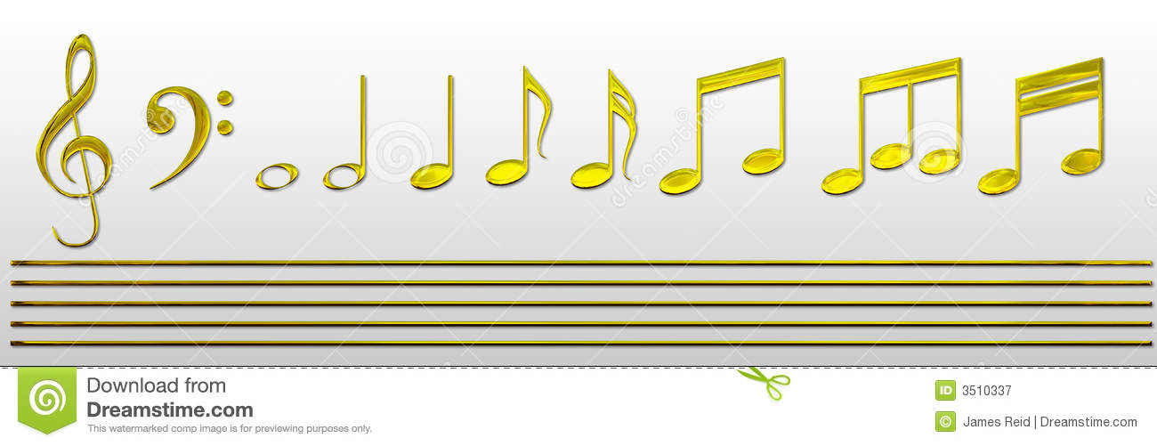 Hi res golden music notes and gold stave so you can create your own ...