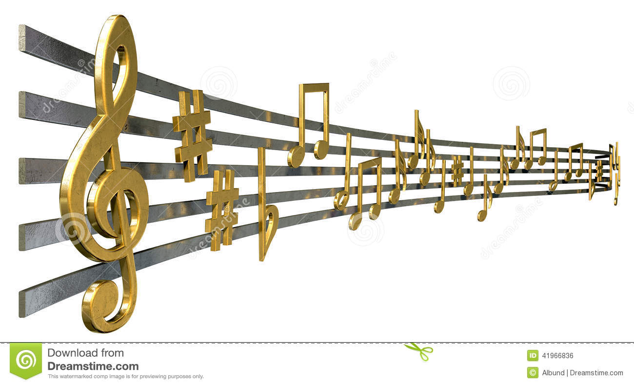Gold Music Notes On Wavy Lines Stock Illustration