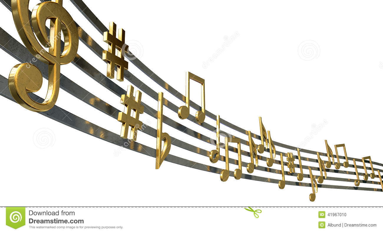Gold music notes on wavy lines stock illustration illustration gold music notes on wavy lines concept clef biocorpaavc Image collections