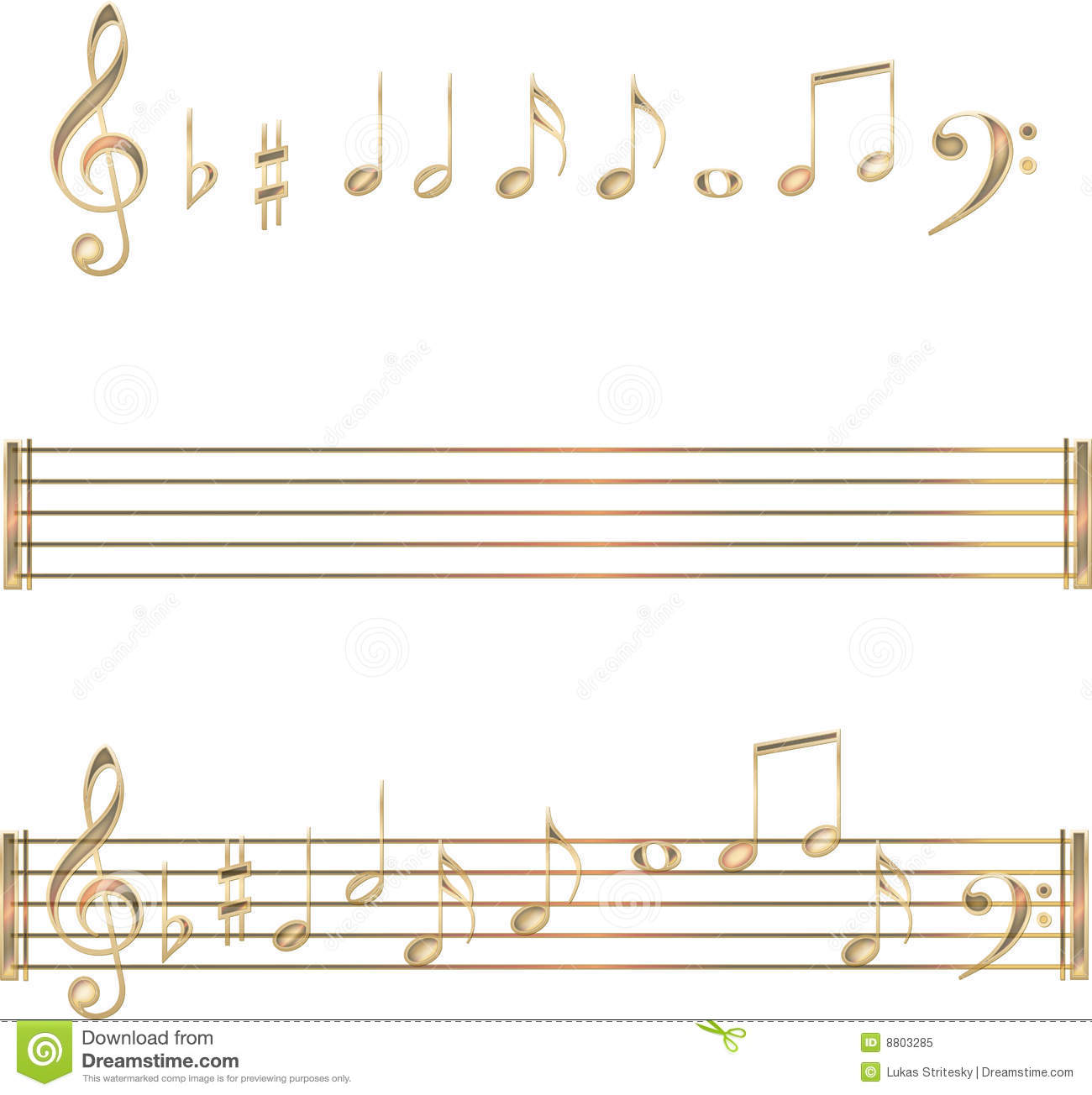 gold musical notes symbols with keys (clef, cleves). Staves (musical ...