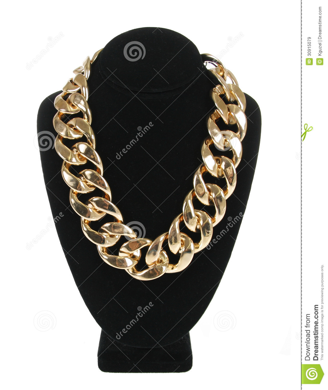 Gold necklace chain on velvet stand isolated on white, fashion jewelry